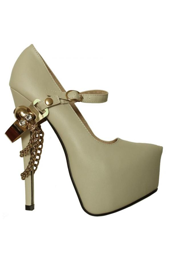 high heels pump with strap decorated with remoovable gold chain and skull off white