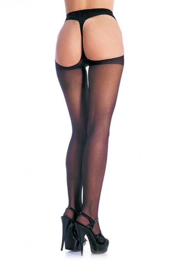 PANTYHOSE LEG AVENUE SHEER THONG BACK BLACK DRED1902