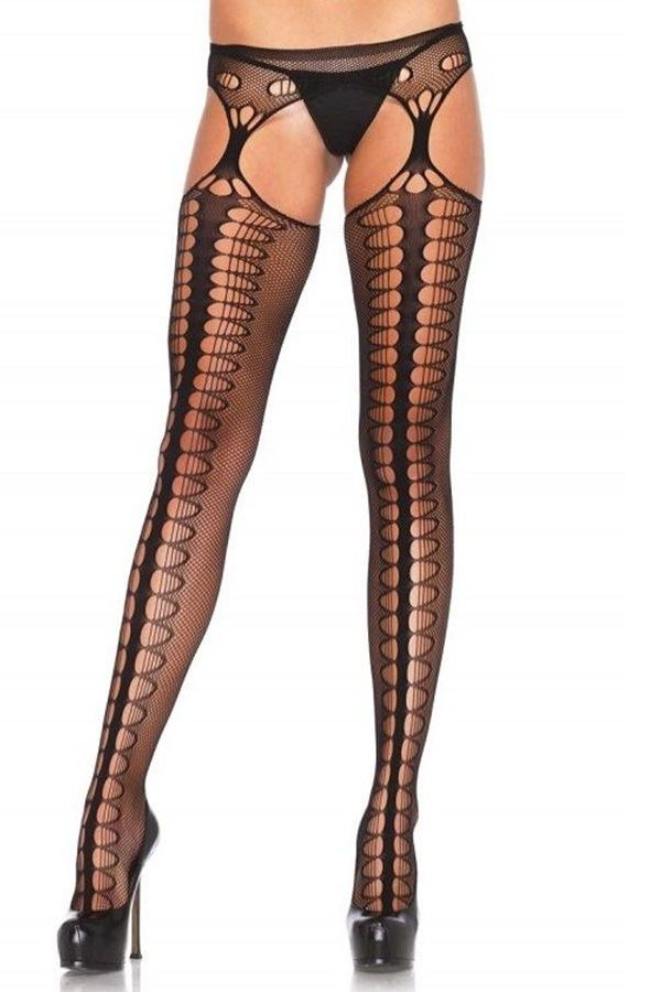 TIGHTS NET GARTER BELT DESIGN BLACK DRED1062