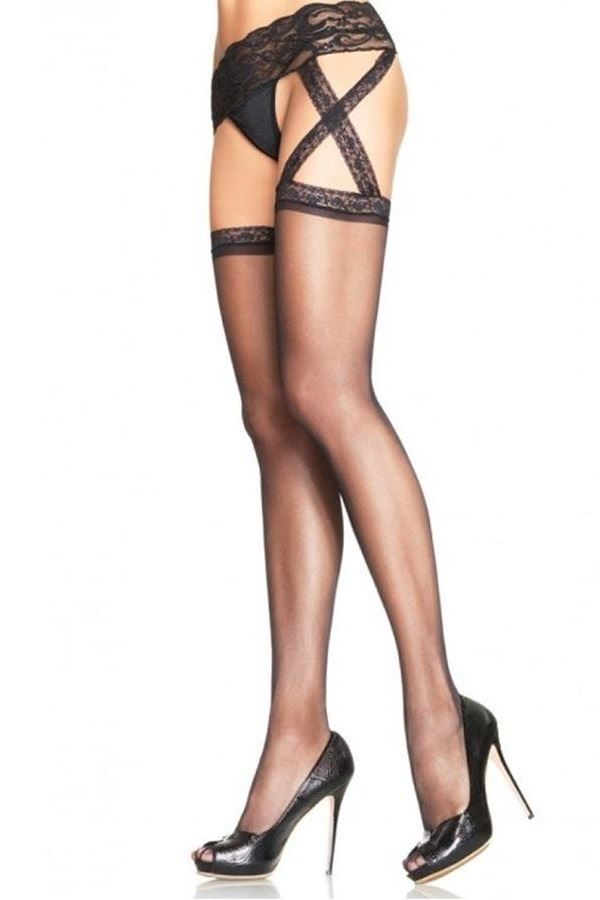 TIGHTS GARTER BELT LACE BLACK DRED1653
