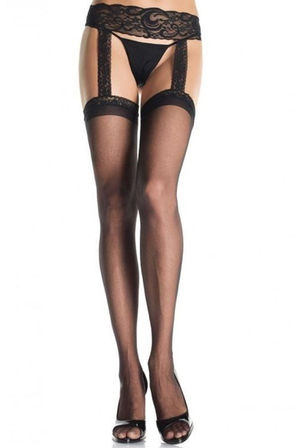 TIGHTS GARTER BELT LACE BLACK DRED1767