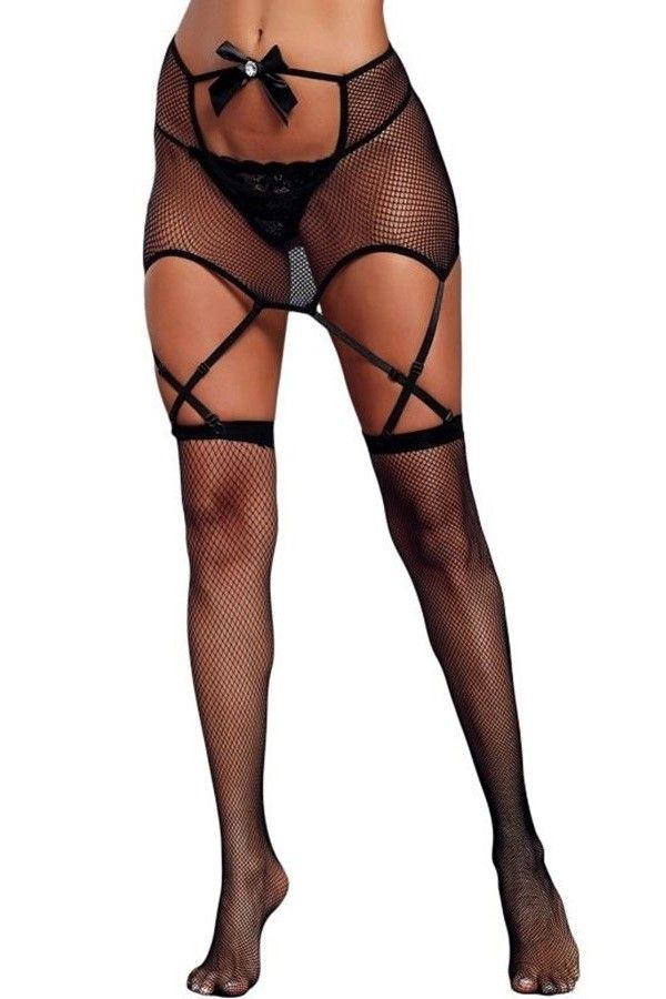 STOCKINGS NET SEXY GARTER BELT BLACK DRED219715
