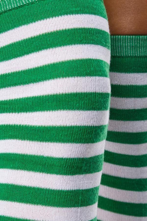 κάλτσες ψηλές γόνατο ριγέ πράσινες άσπρες.