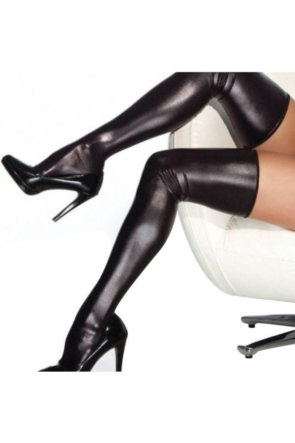 κάλτσες queen ψηλές σέξι latex μαύρες.