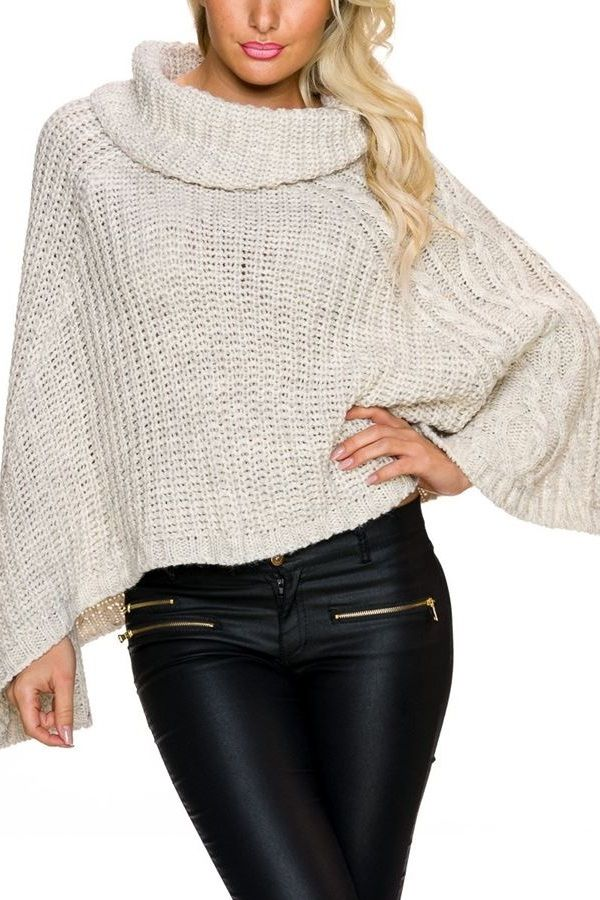 PONCHO KNITTED CREAM Q2024958