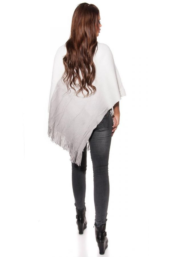 CAPE PONCHO FRINGES BICOLOURED GREY WHITE ISDS873738