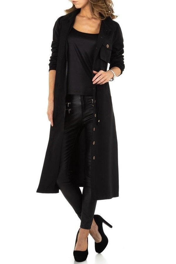 TRENCH COAT LONG BUTTONS BLACK FSWL00551