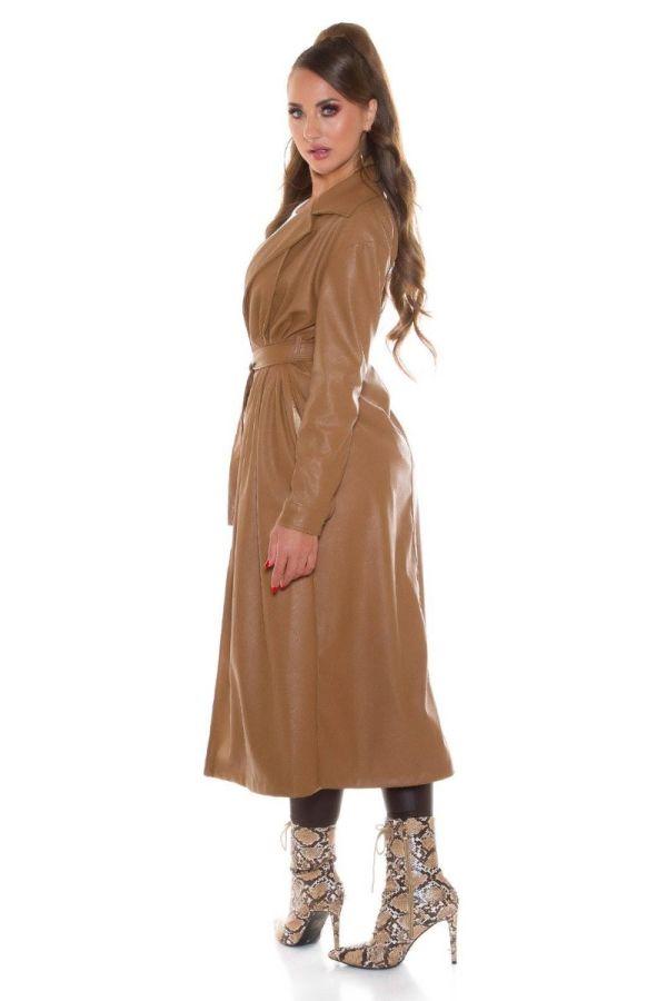 Καπαρντίνα Μακριά Ζώνη Δερματίνη Camel ISDM198583