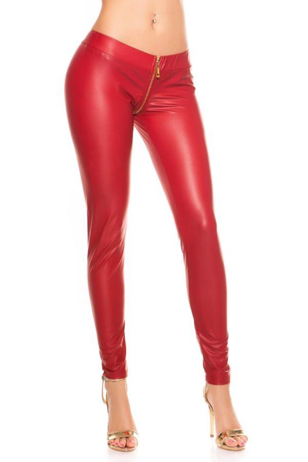 κόκκινο wet look κολάν με φερμουάρ μπροστά