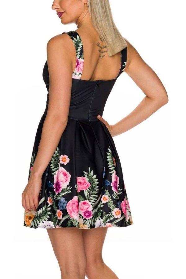 Φόρεμα Κοκτέιλ Πολύχρωμο Floral Μαύρο QQ1725749