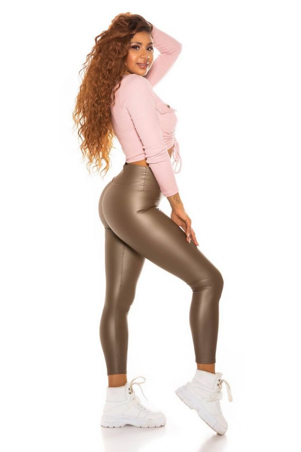 leggings sexy leatherette high waist cappuccino.