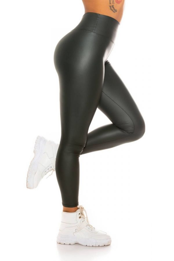 leggings sexy leatherette high waist olive.