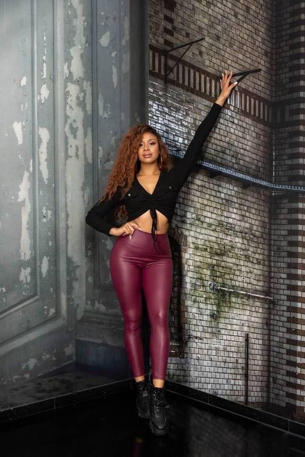 leggings sexy leatherette high waist bordeaux.