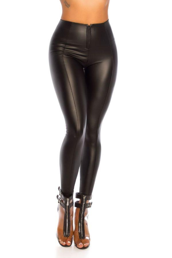 κολάν σέξι φερμουάρ δερματίνη μαύρο.