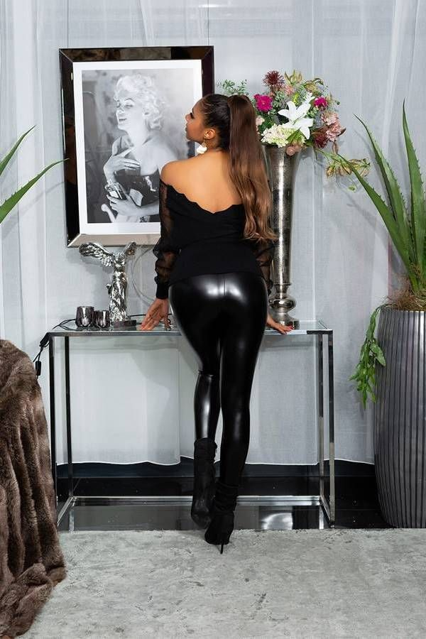 LEGINGS LEATHERETTE SEQUINS BLACK ISDE49826