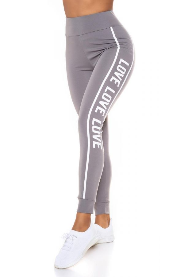 highwaist leggings print stripe grey.