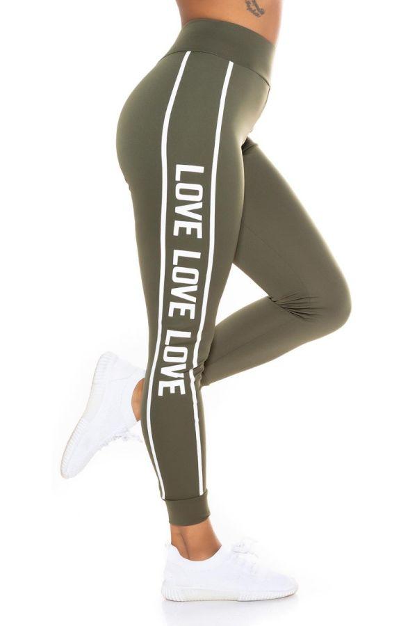 highwaist leggings print stripe khaki.