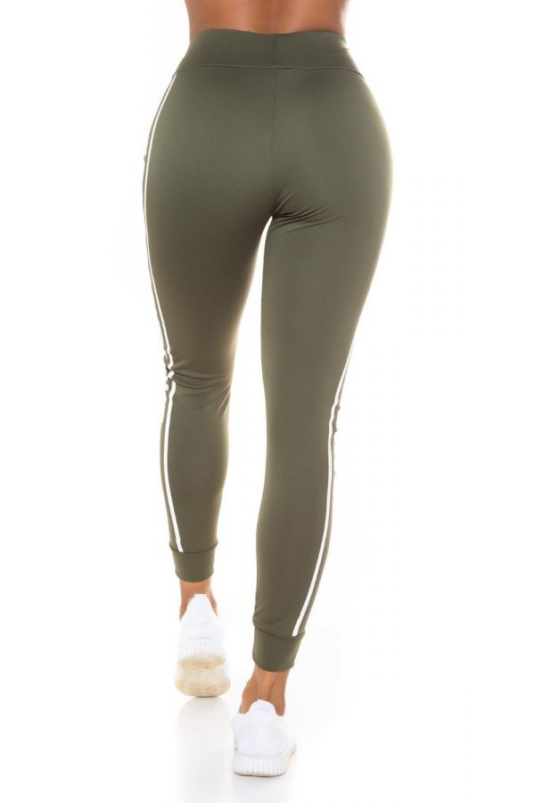 highwaist leggings print stripe khaki.