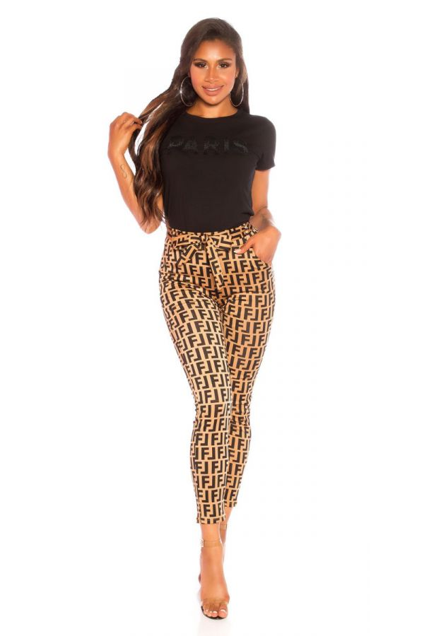 LEGGINGS HIGH WAIST BLACK PATERN CAPPUCCINO ISDG827515