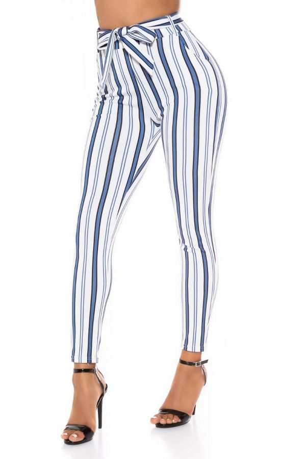 highwaist pants belt stripe multicolour white.