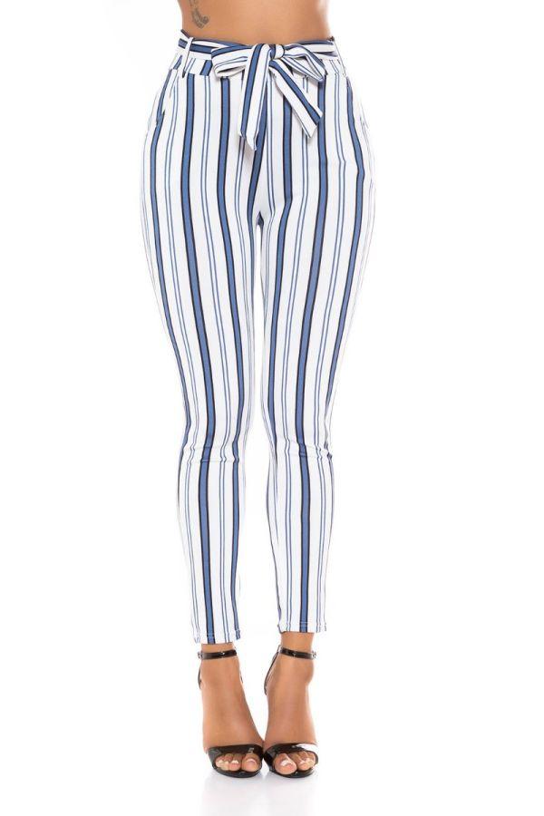 highwaist pants belt stripe multicolour white.