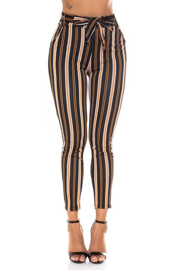 highwaist pants belt stripe multicolour black.