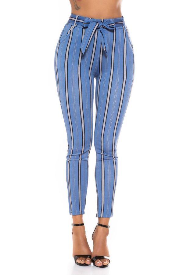 παντελόνι ψηλόμεσο ζώνη ριγέ πολύχρωμο μπλε.