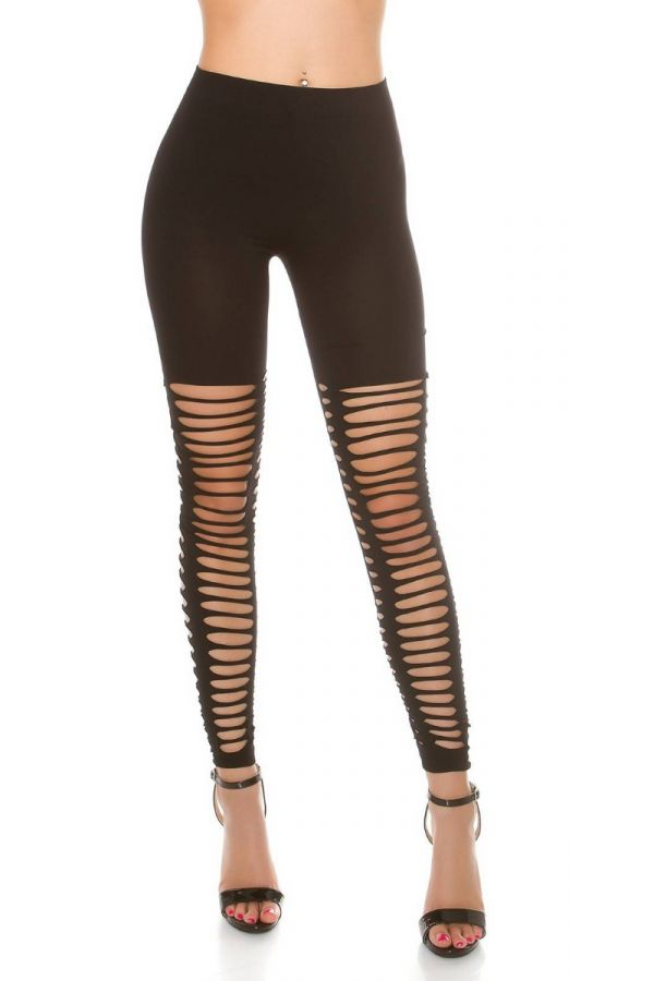 LEGGINGS STRETCH SEXY CUTOUTS BLACK ISDC03010