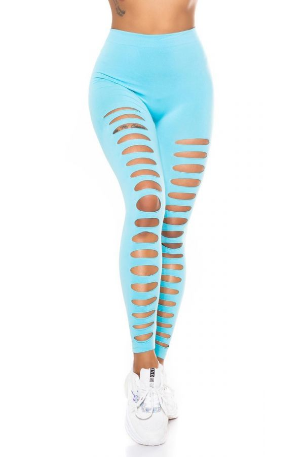 HIGHWAIST LEGGINGS SEXY CUTS OUT TURQUOISE ISDE90040
