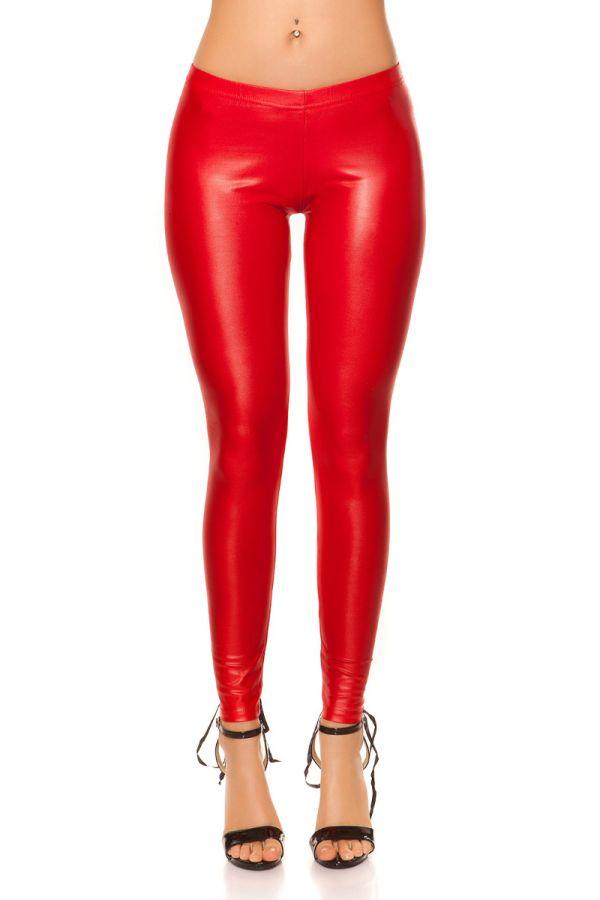 LEGGINGS SEXY BLACK CORDS WETLOOK RED ISDE18256N