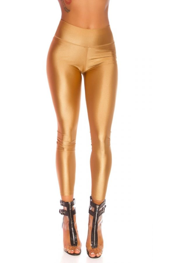 LEGGINGS SHINY METALLIC BEIGE ISDG82761