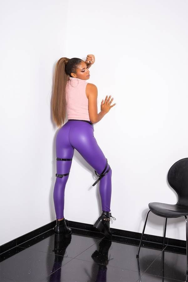 LEGGINGS THERMO WET LOOK PURPLE ISDG20485