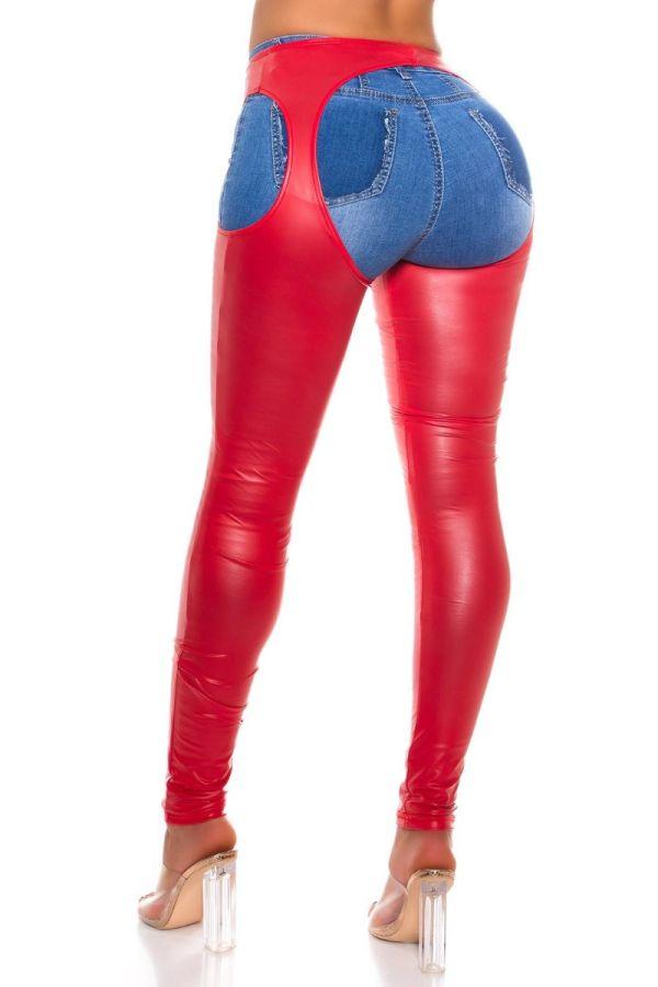 leggings wetlook cutouts red.
