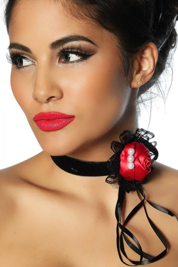 NECKLACE GOTHIC SATIN BLACK RED DAT2012639