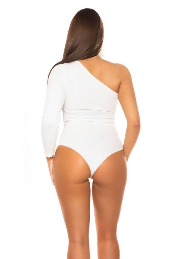 bodysuit sexy asymmetric one shoulder white.