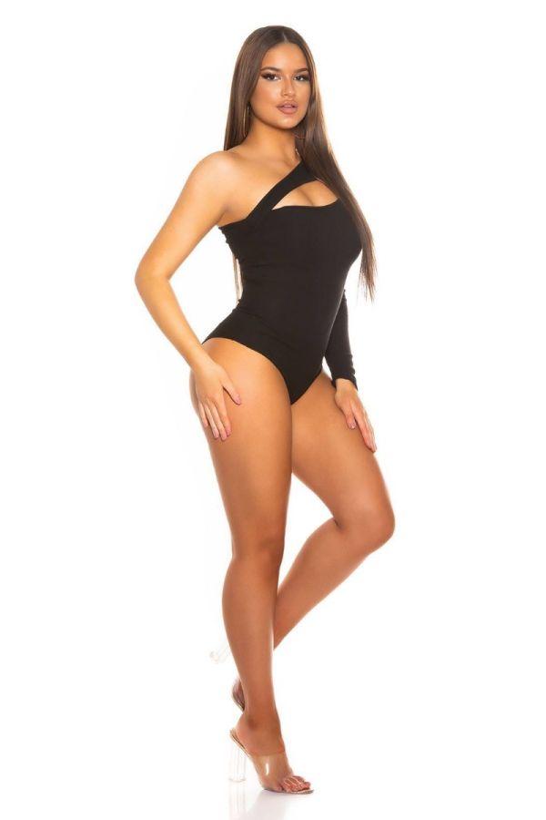 bodysuit sexy asymmetric one shoulder black.