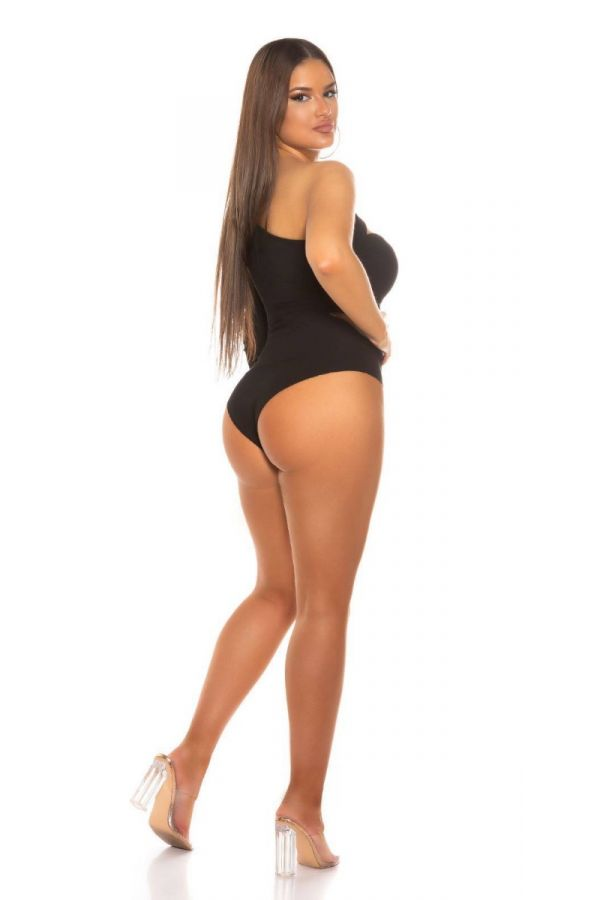 BODYSUIT SEXY ASYMMETRIC ONE SHOULDER BLACK ISDB701678