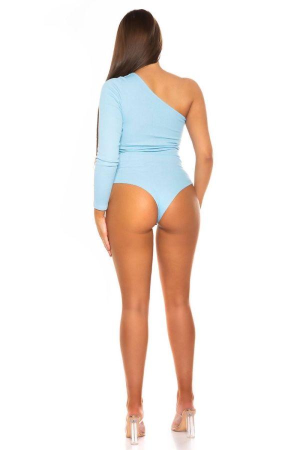 bodysuit sexy asymmetric one shoulder blue.