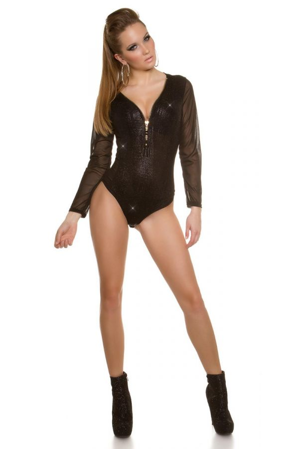 BODY EVENING TRANSPARENCY GLITTER BLACK ISD121343