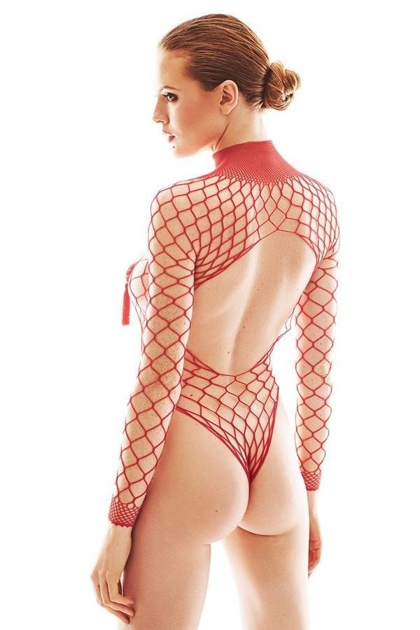 BODY LINGERIE SEXY NET RED ANFORCA
