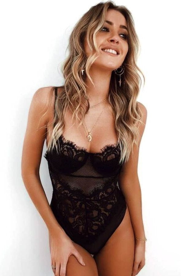 BODY LINGERIE FLORAL LACE BLACK DRED223600