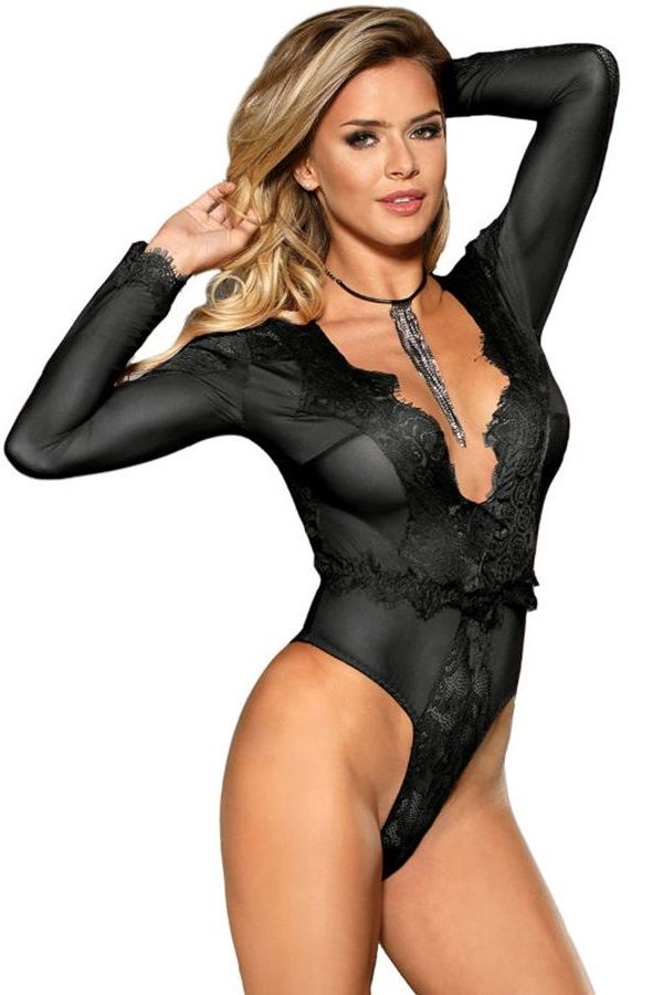 BODY LONG SLEEVES SEXY DECOLLETE LACE BLACK DRED220719