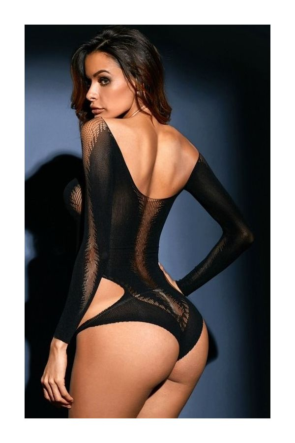 μαύρο σέξυ εσώρουχο κορμάκι με μακριά μανίκια και διαφάνεια.