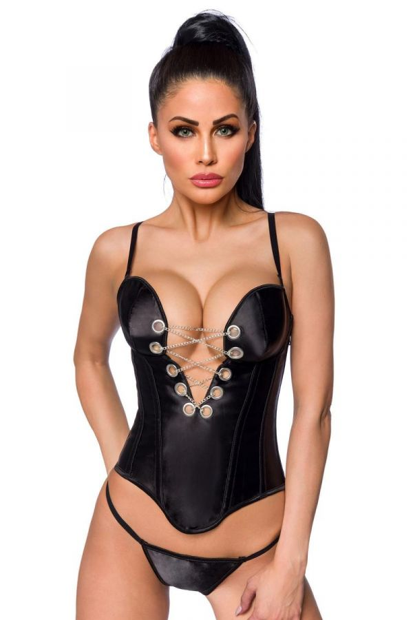 CORSET CHAINS STRING SATIN BLACK DAT2018248