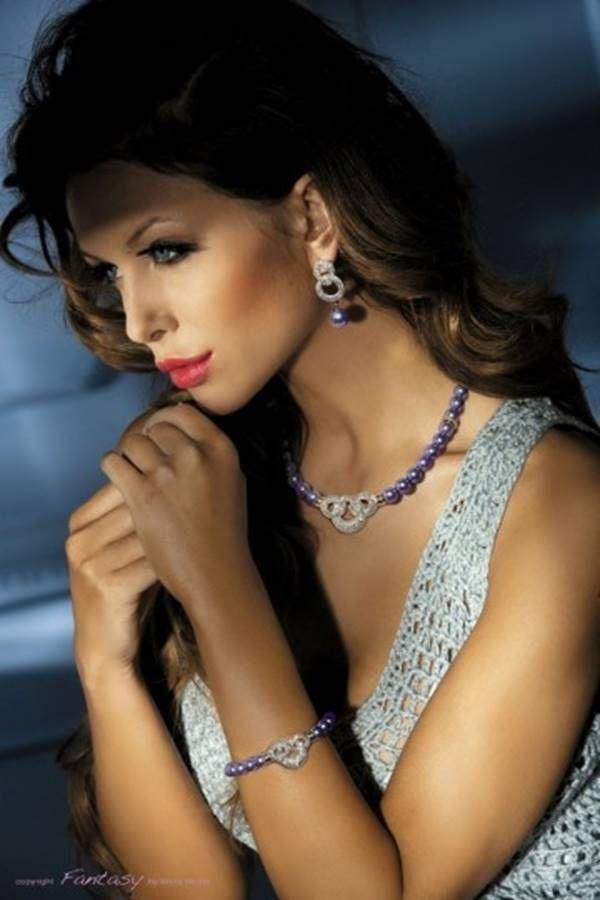 Σετ Κοσμήματα Μαργαριτάρια Κολιέ Βραχιόλι Σκουλαρίκια Μωβ GTOI159990