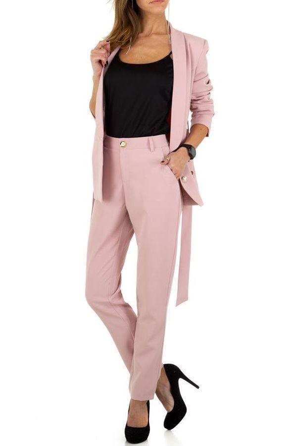 κοστούμι σταυρωτό σακάκι παντελόνι ροζ.