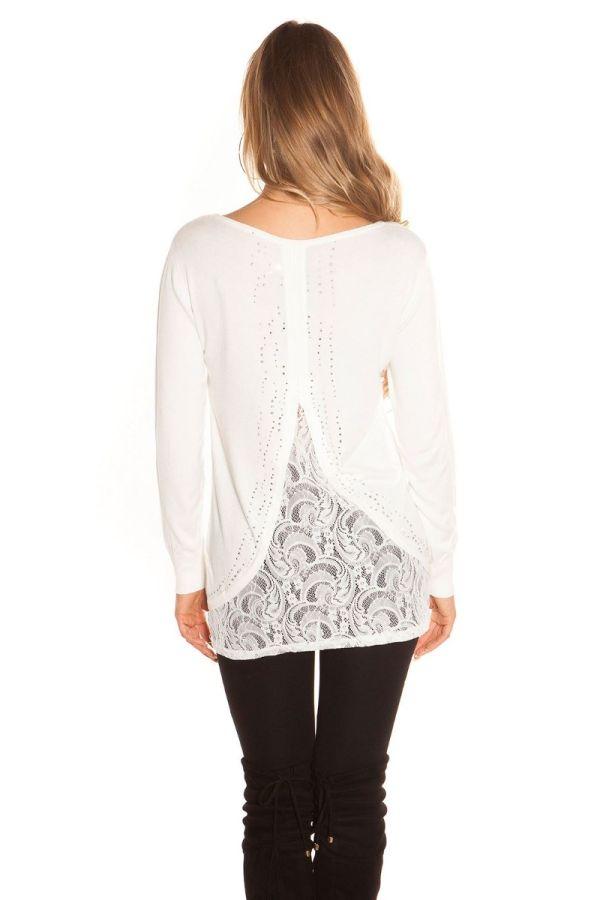 κρεμ πλεκτή μακρυά μπλούζα-φόρεμα δαντέλα στρας.
