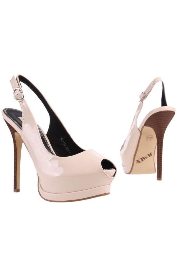 formal patent sandal with hooden heel beige