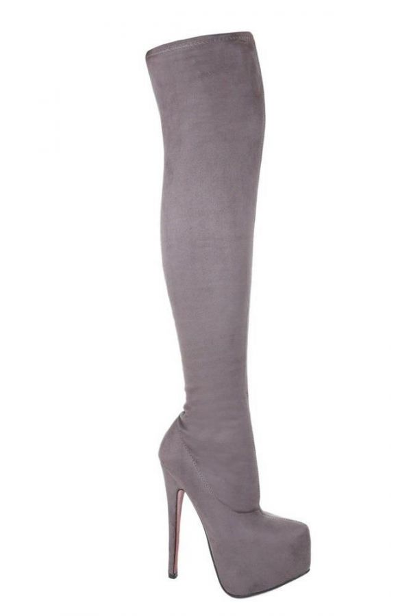 LSP55220 BOOTS SUEDE OVERKNEES PLATEAU GREY