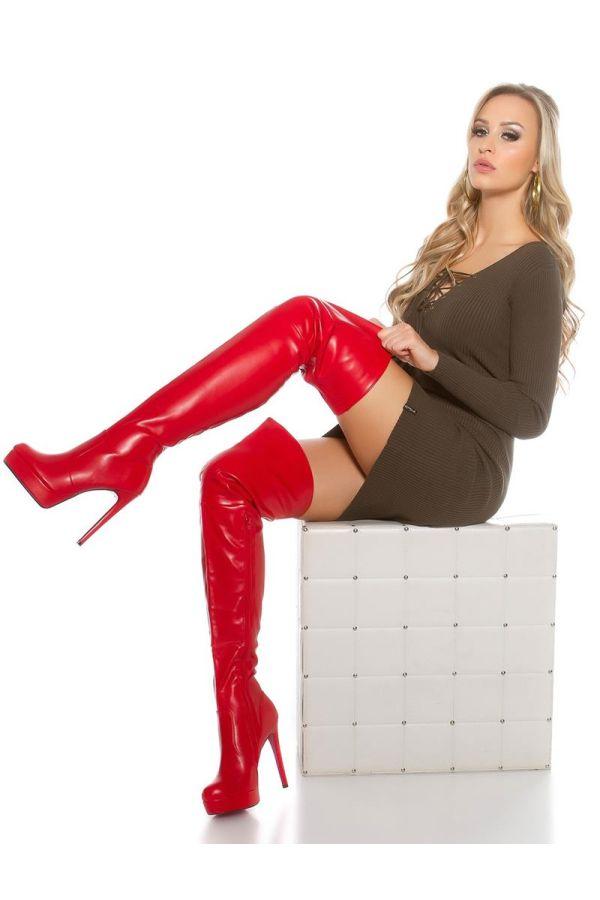 μπότες ψηλές γόνατο ψηλοτάκουνες σέξι με φιάπα κόκκινες.